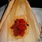 Tamales made with Bean and Pico de Gallo